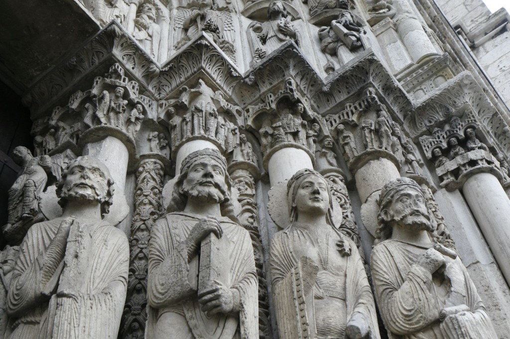 Portail Royal - The main entrance to the cathedral is adorned with thousands of statutes and carvings.