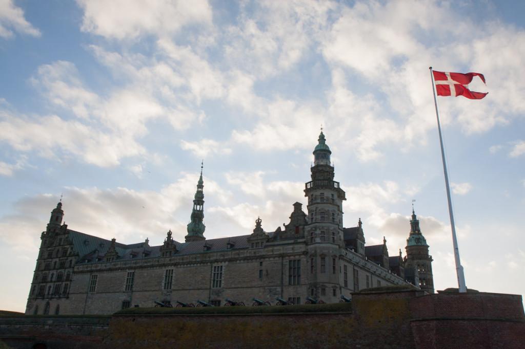 Kronborg Castle in the setting sun