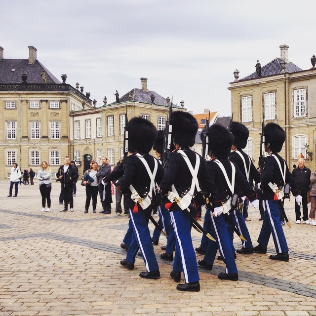 Royal guard change at Amalienborg Palace