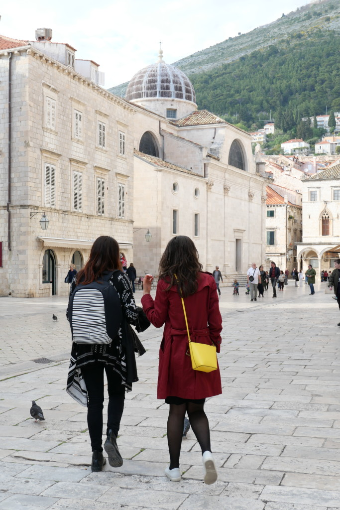 Strolling in Dubrovnik with our local guide Ana