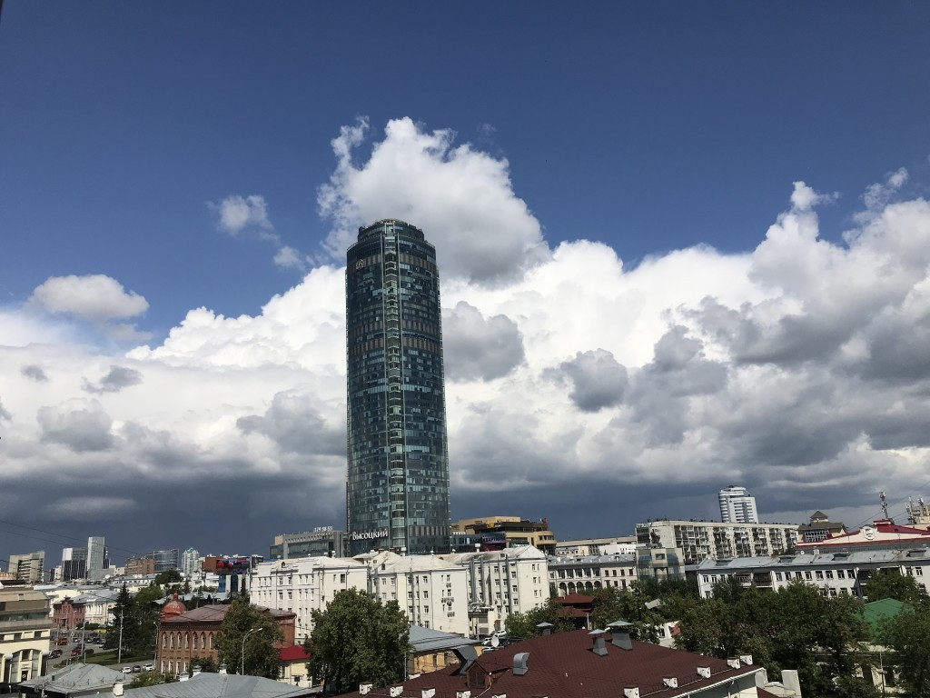 Vysotsky Tower sticking out amidst Soviet architecture of Yekaterinburg