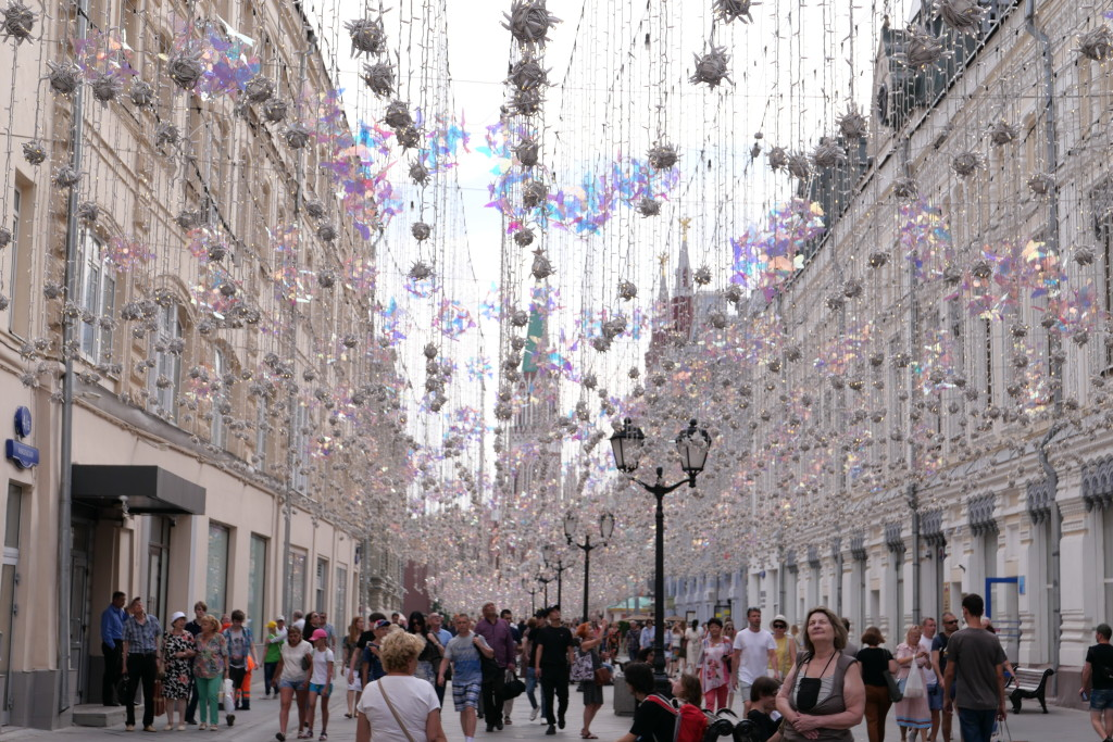 Nikolskaya Street puts a smile on your face every time you walk through. The entire street is decorated in shimmering butterflies leading you right to the heart of Red Square.