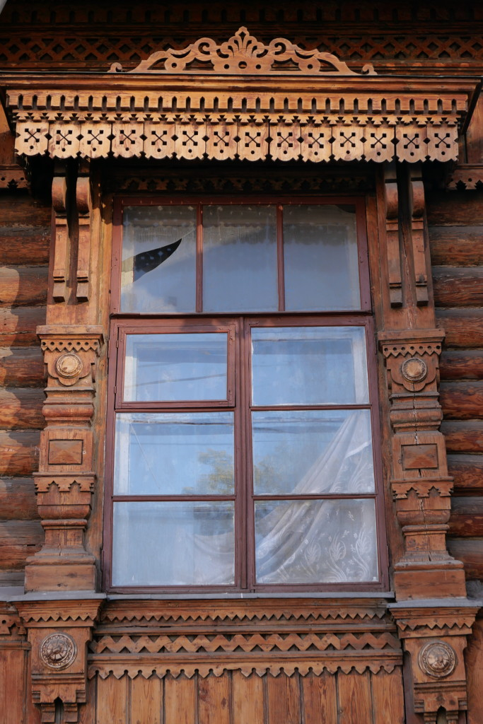 Beautiful wooden carvings on traditional Russian houses