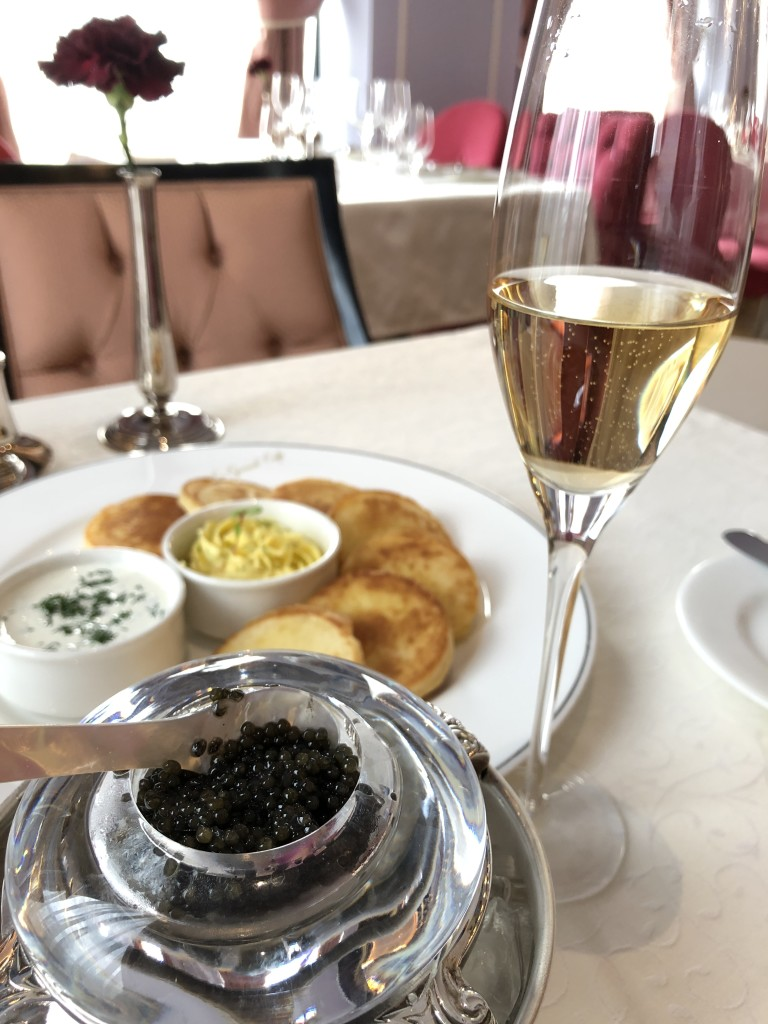 The crown jewel of Russian cuisine - black caviar and champagne. Now we are ready for the 53 hour ride!