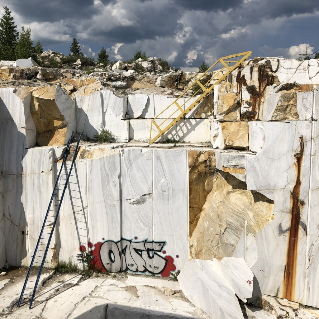 An abandoned marble quarry
